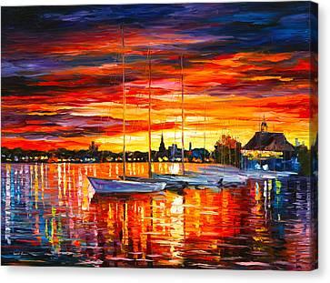 Helsinki Sailboats At Yacht Club Canvas Print by Leonid Afremov