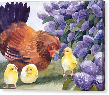 Hen And Chicks Chicken Art Canvas Print