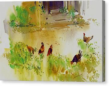 Hen Pecked Canvas Print by P Anthony Visco