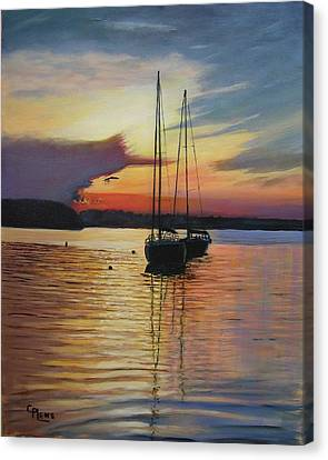 Sunset In Henderson Harbor Canvas Print by Connie Plews