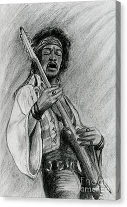 Canvas Print featuring the drawing Hendrix by Roz Abellera Art