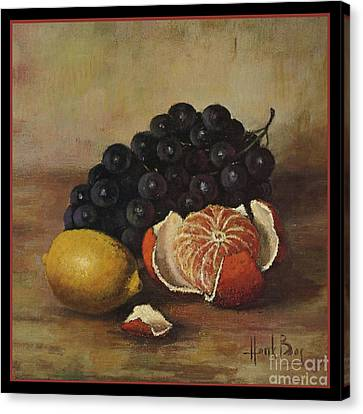 Henk Bos Fruits Still Life Grapes Lemon And Orange Canvas Print by Pierpont Bay Archives