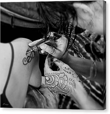 Canvas Print featuring the photograph Henna Artist At Work by Jennie Breeze