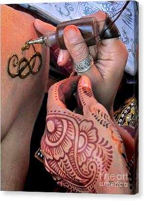 Canvas Print featuring the photograph Henna Hands At Work by Jennie Breeze