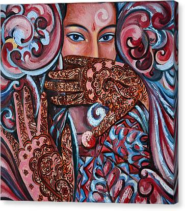 Canvas Print featuring the painting Henna by Harsh Malik