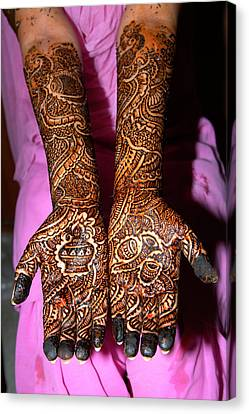 Henna Painting On Both Arms And Hands Canvas Print