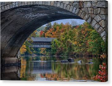Canvas Print featuring the photograph Henniker Covered Bridge No. 63 by Jeff Folger