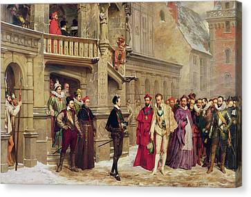 Henri IIi And The Duc De Guise, 1855 Oil On Canvas Canvas Print by Pierre Charles Comte