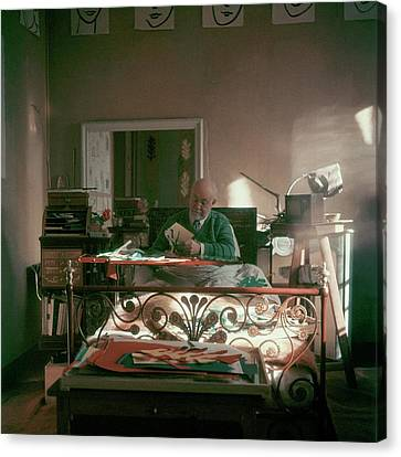 Henri Matisse In Bed Canvas Print by Clifford Coffin