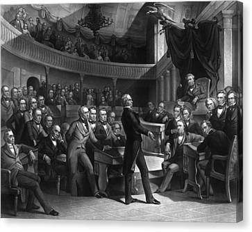 Henry Clay Speaking In The Senate Canvas Print by War Is Hell Store