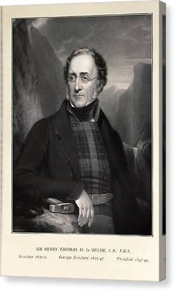 Henry De La Beche, English Geologist Canvas Print by Paul D. Stewart