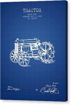 Tractors Canvas Print - Henry Ford Tractor Patent  From 1919 - Blueprint by Aged Pixel