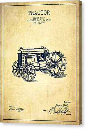 Tractors Canvas Print - Henry Ford Tractor Patent  From 1919 - Vintage by Aged Pixel