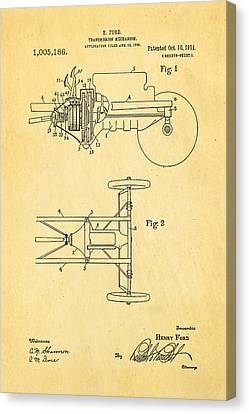 Henry Ford Transmission Mechanism Patent Art 1911 Canvas Print