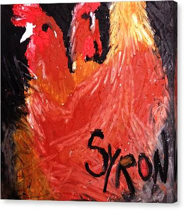 Canvas Print featuring the drawing Hens by Helen Syron