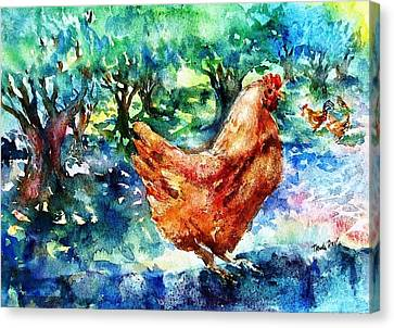 Hens In The Olive Grove Canvas Print by Trudi Doyle