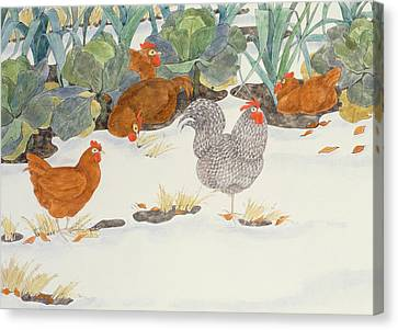 Hens In The Vegetable Patch Canvas Print by Linda Benton