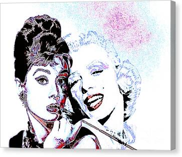 Hepburn And Monroe 20130331 Canvas Print by Wingsdomain Art and Photography