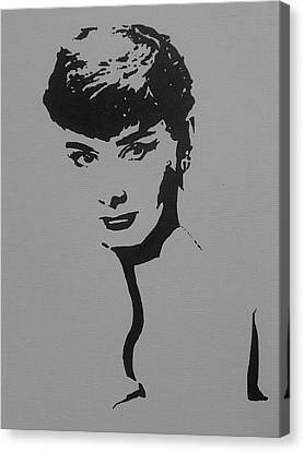 Canvas Print featuring the painting Hepburn by Cherise Foster