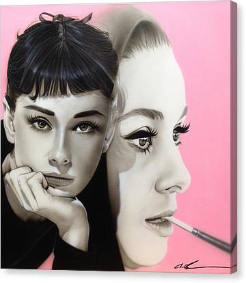 Audrey Hepburn - ' Hepburn ' Canvas Print by Christian Chapman Art