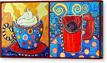 Her And His Coffee Cups Canvas Print by Ana Maria Edulescu