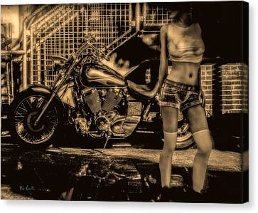 Her Bike Canvas Print by Bob Orsillo