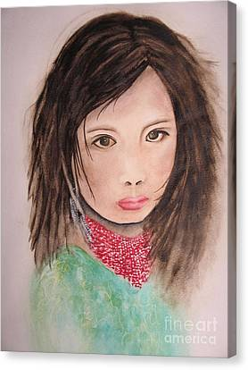 Canvas Print featuring the painting Her Expression Says It All by Chrisann Ellis