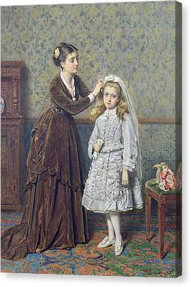 Her First Communion Canvas Print by George Goodwin Kilburne