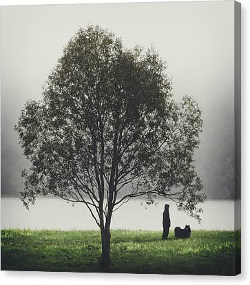 Her Life With A Dog Canvas Print by Ari Salmela