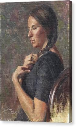 Her Long Braid Canvas Print by Anna Rose Bain