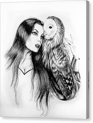 Woman And Owl Canvas Print - Her Loyal Companion by Scarlett Royal
