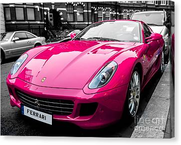 Her Pink Ferrari Canvas Print by Matt Malloy