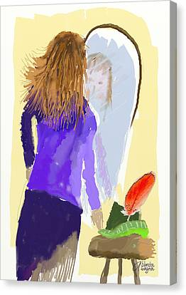 Canvas Print featuring the digital art Her Reflection by Arline Wagner