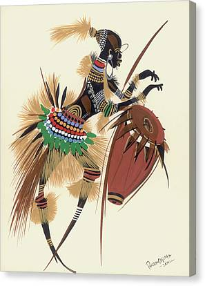 Drummer Canvas Print - Her Rhythm And Blues by Oglafa Ebitari Perrin