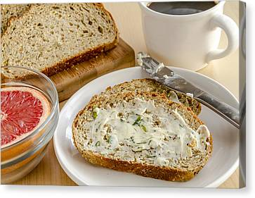Herb Butter And Whole Grain Bread Canvas Print
