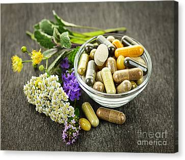 Pill Canvas Print - Herbal Medicine And Herbs by Elena Elisseeva