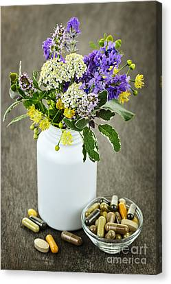 Pill Canvas Print - Herbal Medicine And Plants by Elena Elisseeva