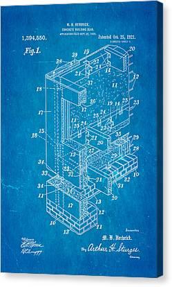 Herbrick Concrete Building Slab Patent Art 1921 Blueprint Canvas Print by Ian Monk