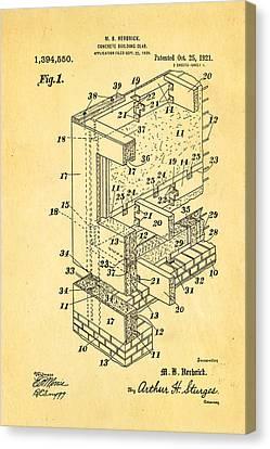 Herbrick Concrete Building Slab Patent Art 1921 Canvas Print