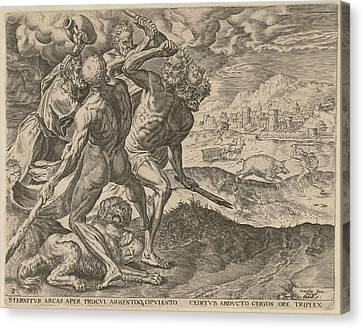 Hercules Kills Geryon And His Dog, Cornelis Cort Canvas Print by Cornelis Cort And Julius Goltzius