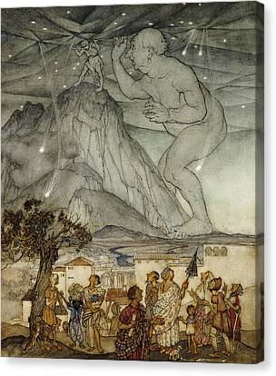 Hercules Supporting The Sky Instead Of Atlas Canvas Print by Arthur Rackham