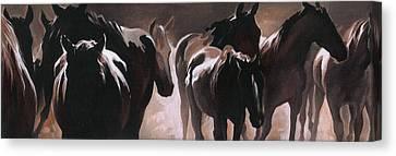 Herd Of Horses Canvas Print by Natasha Denger