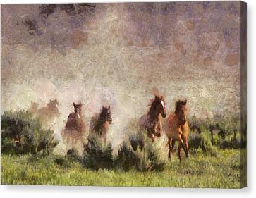 Canvas Print featuring the painting Herd Of Wild Horses by Georgi Dimitrov