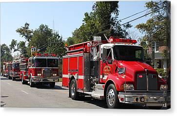 Here Come The Firetrucks Canvas Print by Carolyn Ricks