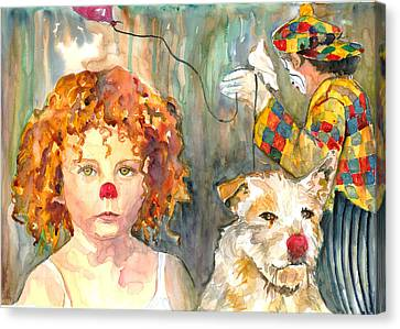 Canvas Print featuring the painting Here Comes The Clowns by P Maure Bausch