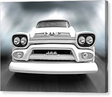 Here Comes The Sun - Gmc 100 Pickup 1958 Black And White Canvas Print by Gill Billington