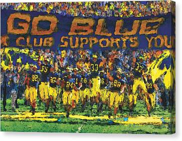 University Of Michigan Canvas Print - Here We Come by John Farr