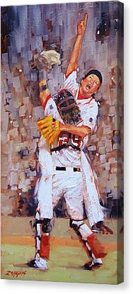 Baseball Gloves Canvas Print - Here We Come by Laura Lee Zanghetti