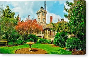 Hereford Inlet Lighthouse Garden Canvas Print by Nick Zelinsky