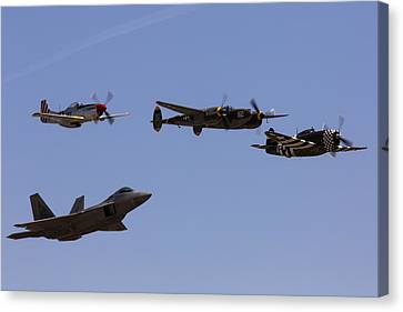 Lightning D Canvas Print - Heritage Flight Of Four by John Daly